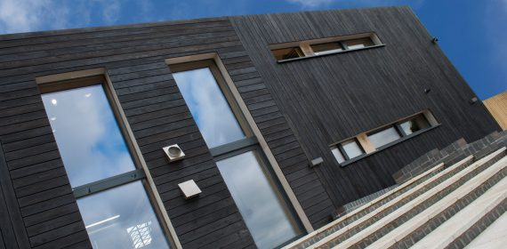 Larch charred exterior cladding on a building