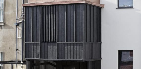 Charred Takage and Shiberiatora cladding used on a leisure centre in Bournemouth.
