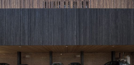 Charred Takage, Shiberiatora cladding and plain Siberian Larch timber cladding used on a leisure centre in Bournemouth.