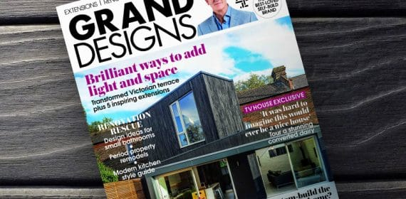 Grand Designs magazine cover with Shou Sugi Ban swatch behind