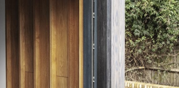 Close up of Light Brush Accoya Shizen cladding used on an extension on a London house