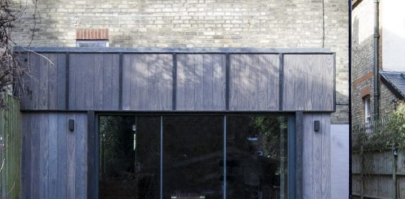 Wide angle shot of Light Brush Accoya Shizen cladding used on an extension on a London house