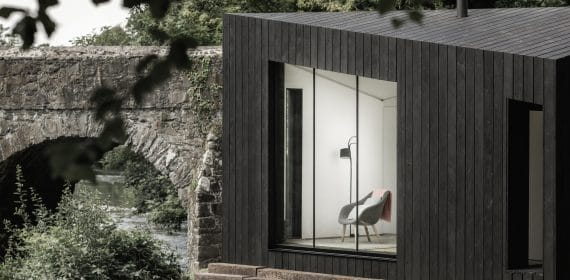 Charred timber cladding used on a cabin