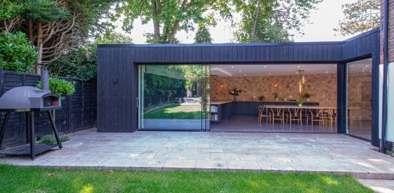 Charred Kebony timber cladding used on a family home